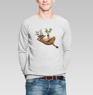 Олень на отдыхе - Купить мужские свитшоты с илюстрациями в Москве, цена мужских свитшотов с илюстрациями  с прикольными принтами - магазин дизайнерской одежды MaryJane