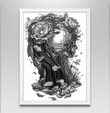 Сюрреалистическая девушка - Постер в белой раме, розы
