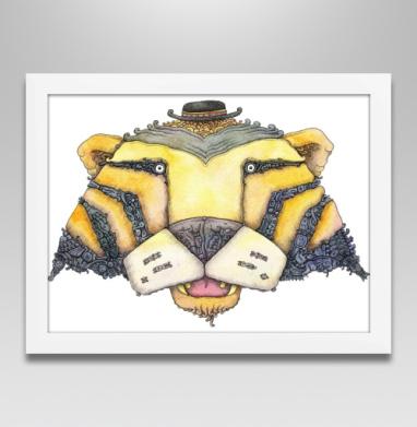 Тигр - Постер в белой раме, пиксель арт