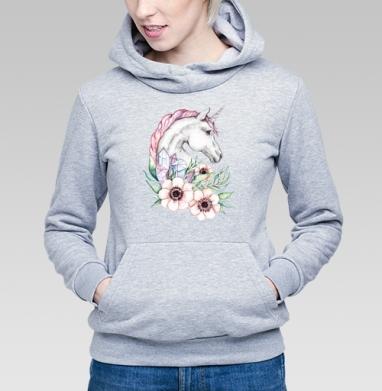 Весенний единорог - Купить детские толстовки с акварелью в Москве, цена детских толстовок с акварелью  с прикольными принтами - магазин дизайнерской одежды MaryJane