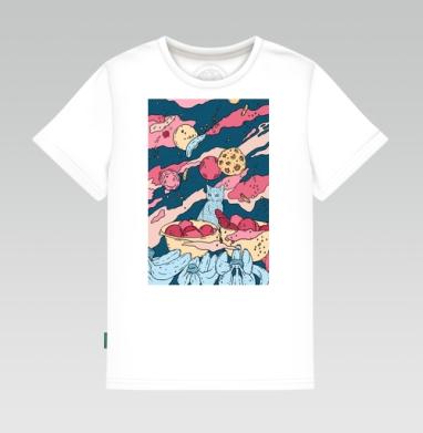 Кот в космосе, Детская футболка белая 160гр