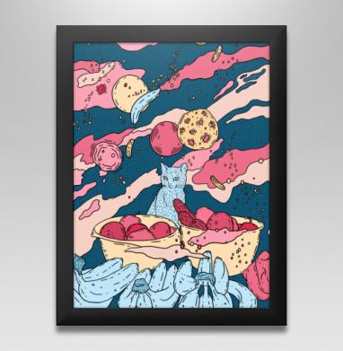 Кот в космосе - Постер в чёрной раме
