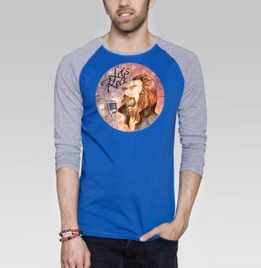 Рок-н-Ролл - Футболка мужская с длинным рукавом синий / серый меланж, психоделика, Популярные