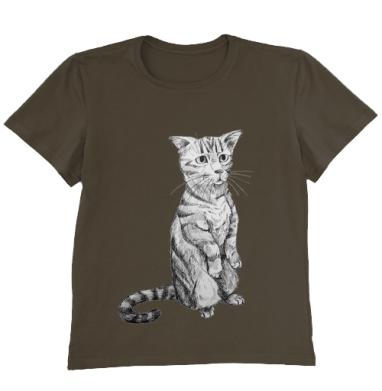 Футболка мужская коричневая - Просящий кот