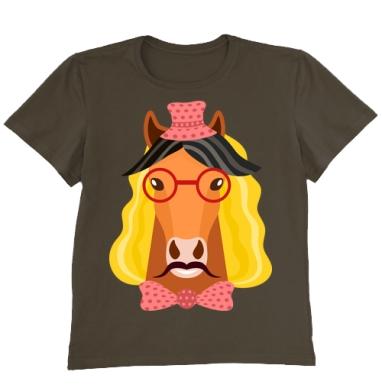 Футболка мужская коричневая - Веселый конь