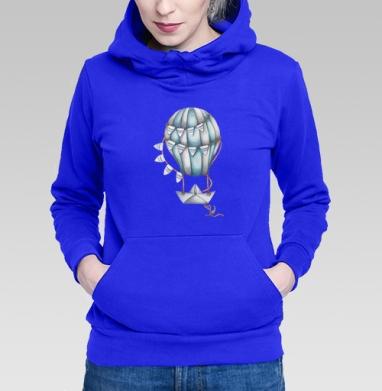 Толстовка Женская синяя, синий - Интернет магазин футболок №1 в Москве