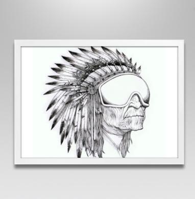 Индеец сноубордист - Постер в белой раме