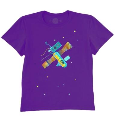 Футболка мужская темно-фиолетовая - Диско спутник