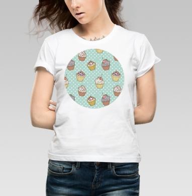 Retro cakes pattern - Купить детские футболки ретро в Москве, цена детских футболок ретро  с прикольными принтами - магазин дизайнерской одежды MaryJane