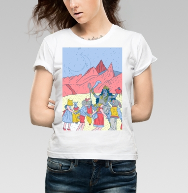 Розовые холмы - Купить детские футболки Пейзаж в Москве, цена детских футболок с пейзажем с прикольными принтами - магазин дизайнерской одежды MaryJane