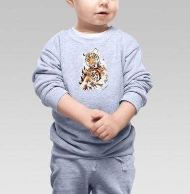 Влюбленные тигры - Cвитшот Детский серый меланж, Новинки