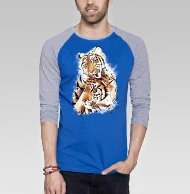 Влюбленные тигры - Футболка мужская с длинным рукавом синий / серый меланж, акварель, Популярные