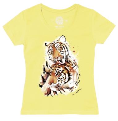 Футболка женская желтая - Влюбленные тигры