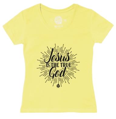 Футболка женская желтая - Иисус - это истинный Бог
