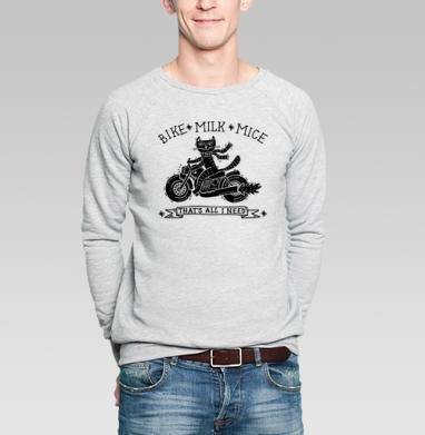 Кошка на мотоцикле - Купить мужские свитшоты с кошками в Москве, цена мужских  с кошками  с прикольными принтами - магазин дизайнерской одежды MaryJane