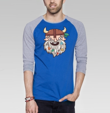 Довольный бородач - Футболка мужская с длинным рукавом синий / серый меланж, Улыбка