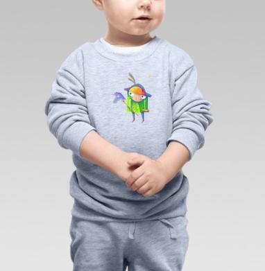 Ночная прогулка с единорогом - Cвитшот Детский серый меланж, Новинки