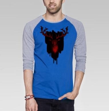 Трезглазый акварельный олень с лиственными рогами - Футболка мужская с длинным рукавом синий / серый меланж, акварель, Популярные