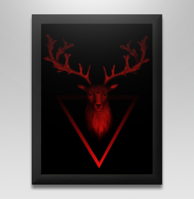 Трезглазый акварельный олень с лиственными рогами - Постер в чёрной раме