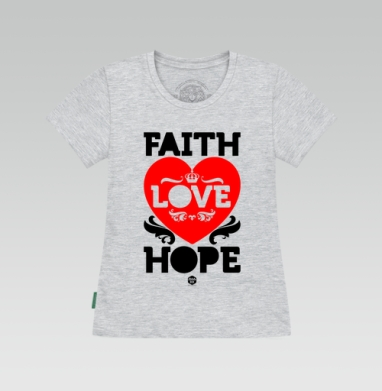 Футболка женская серый меланж - Вера, надежда, любовь