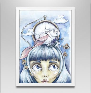 Знакомство с белым кроликом - Постер в белой раме, сказки