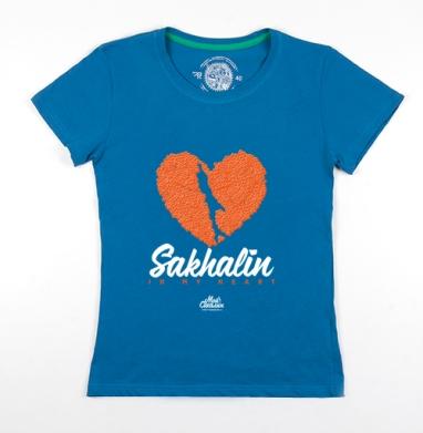 Футболка женская волна 200гр - Сахалин в моем сердце