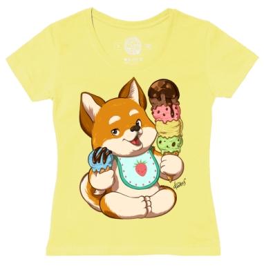 Футболка женская желтая - Сладкие собачки - пломбир
