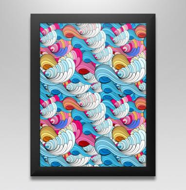 Морские абстрактные волны, Постер в чёрной раме