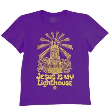 Футболка мужская темно-фиолетовая - Иисус мой маяк