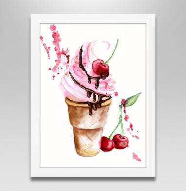 Мороженое с вишенкой, Постер в белой раме