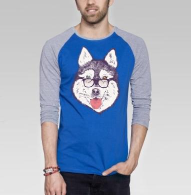 Пёс нацепил очки на нос - Футболка мужская с длинным рукавом синий / серый меланж, Иллюстация