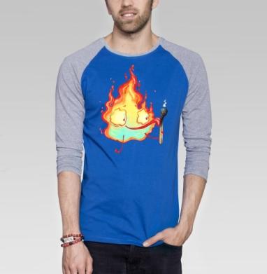 Огонёк и спичка - Футболка мужская с длинным рукавом синий / серый меланж, Популярные, Страница 2
