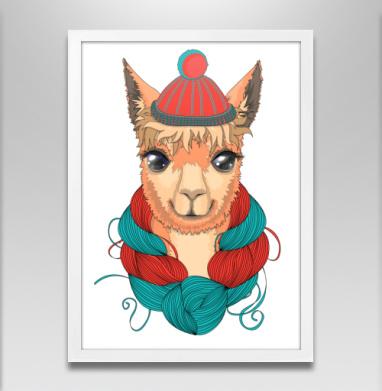 Портрет ламы в шапке и мотком ниток на шее - Постеры, лицо, Популярные