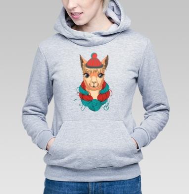 Портрет ламы в шапке и мотком ниток на шее - Купить детские толстовки с персонажами в Москве, цена детских толстовок с персонажами  с прикольными принтами - магазин дизайнерской одежды MaryJane