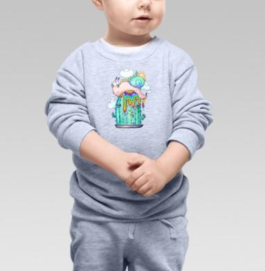 Улитка на кактусе - Cвитшот Детский серый меланж, Новинки