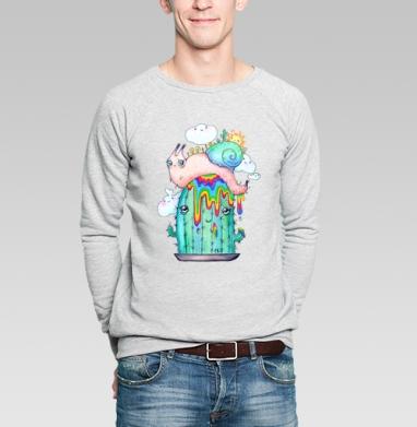 Улитка на кактусе - Купить мужские свитшоты Текстуры в Москве, цена мужских свитшотов Текстуры с прикольными принтами - магазин дизайнерской одежды MaryJane