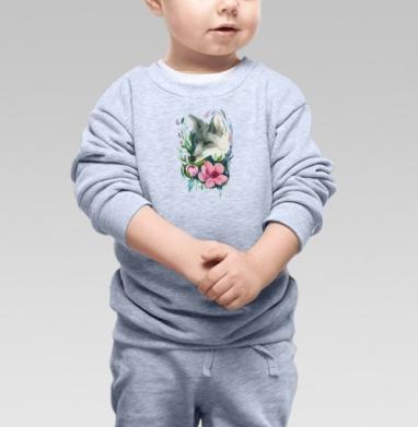 Лис в цветах - Cвитшот Детский серый меланж, Новинки