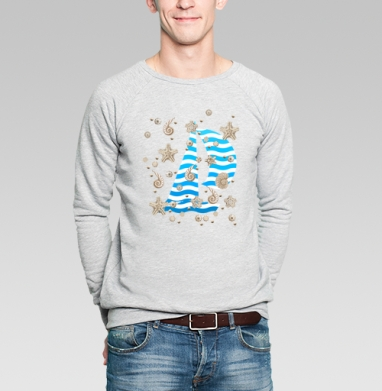 Волны и ракушки - Купить мужские свитшоты морские  в Москве, цена мужских свитшотов морских   с прикольными принтами - магазин дизайнерской одежды MaryJane