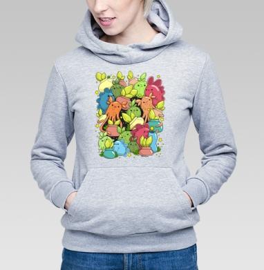 Монстрики с цветочками в горшочках, Толстовка Женская серый меланж 340гр, теплый