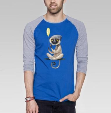 Лемур и мороженое - Футболка мужская с длинным рукавом синий / серый меланж, Популярные, Страница 2