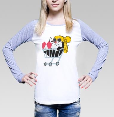 Безмятежный пингвин, Футболка лонгслив женская бело-серая