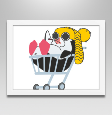 Безмятежный пингвин - Постер в белой раме