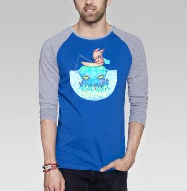 Рыбалка на медузе - Футболка мужская с длинным рукавом синий / серый меланж, лето, Популярные