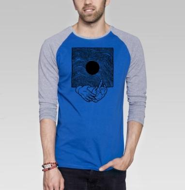 Вибрации - Футболка мужская с длинным рукавом синий / серый меланж, Популярные, Страница 2