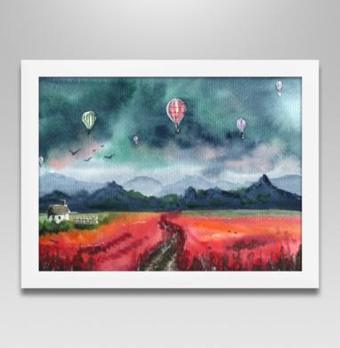 Акварельный пейзаж с воздушными шарами - Постеры, Популярные