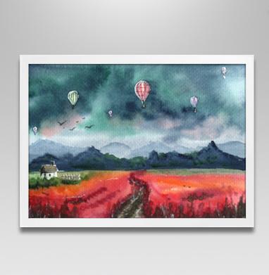 Акварельный пейзаж с воздушными шарами - Постер в белой раме