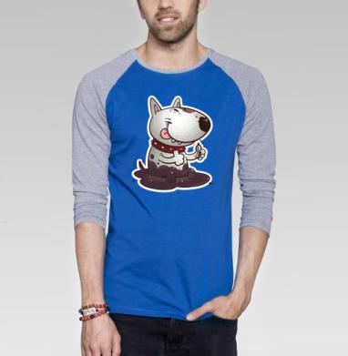 Довольный буль - Футболка мужская с длинным рукавом синий / серый меланж, собаки, Популярные