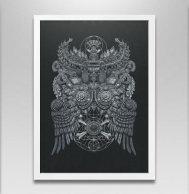Великая Сова - Постер в белой раме, текстура