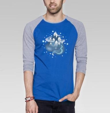 Горный дух - Футболка мужская с длинным рукавом синий / серый меланж, Мило