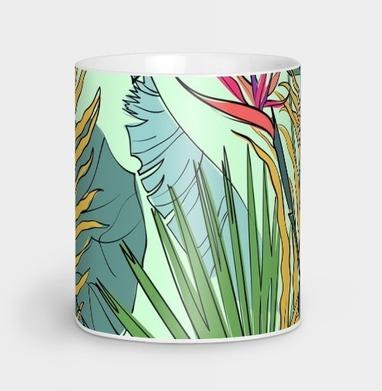 Листья цветы тропики - Кружки с логотипом